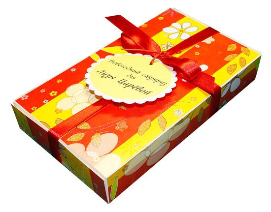 Упаковка для новогоднего подарка с тегом