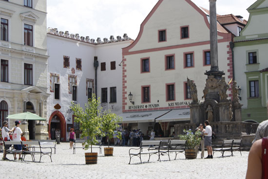 Чешский Крумлов площадь Чумовая колонна